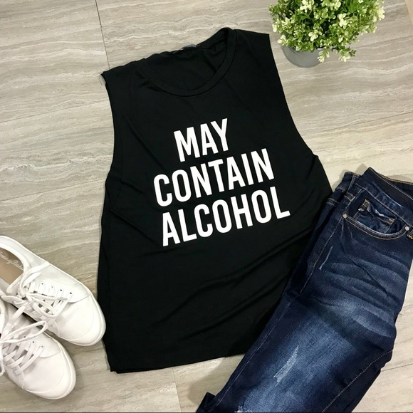 "18b8f3e450a ""MAY CONTAIN ALCOHOL"" Graphic Tee Black Tank Top"